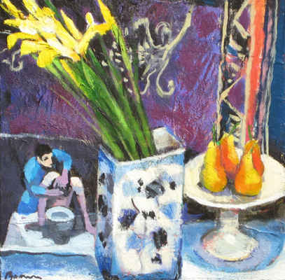 Irises and Pears with Alberto Morrocco Card