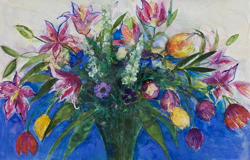 Tulips and Lilies on a Blue Background
