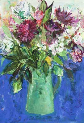 Flowers in a Green Jug