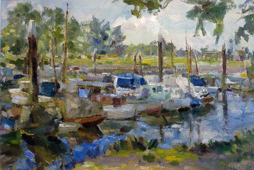 Boats on a Dutch Canal