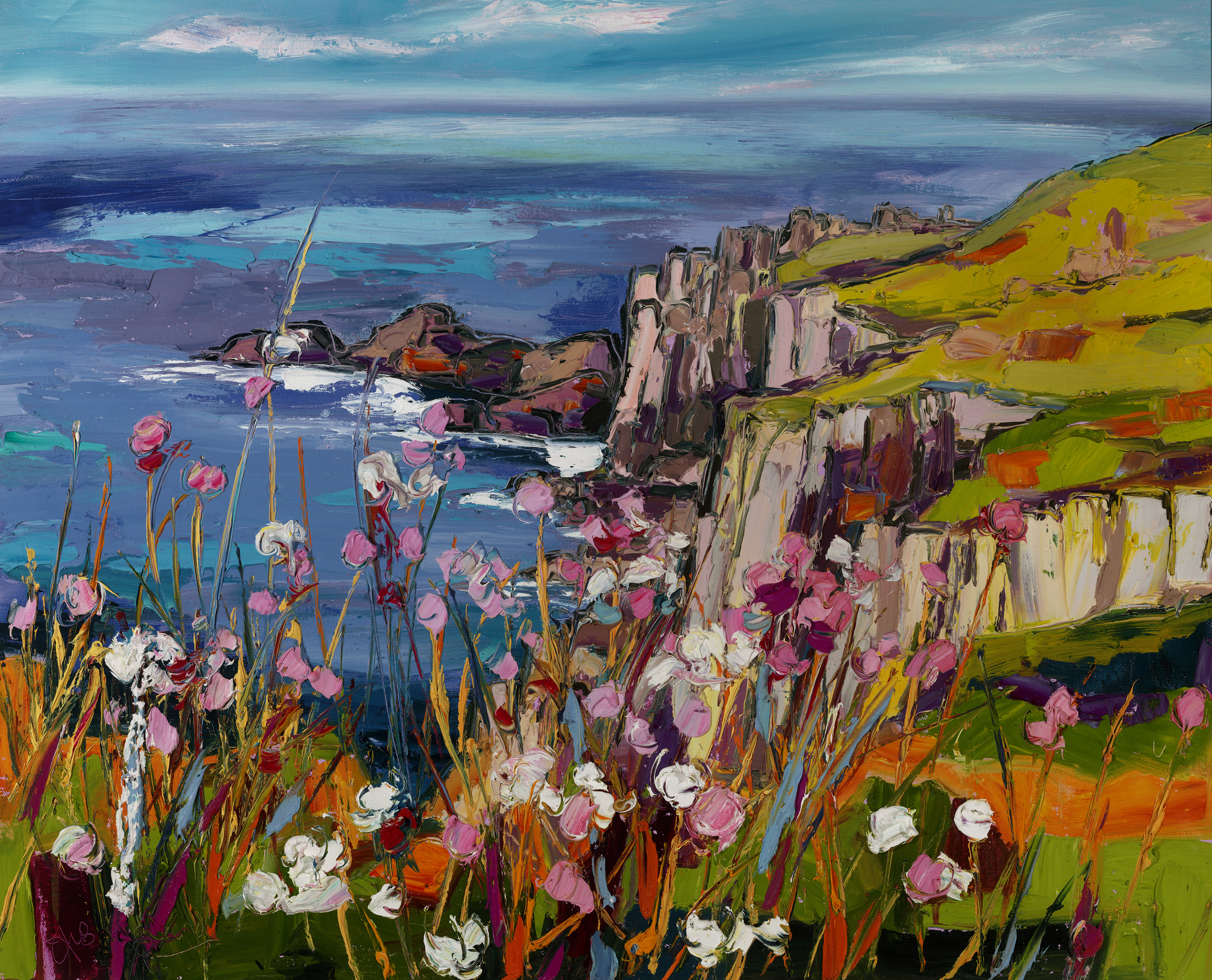 Sea Pinks Lands End By Judith I Bridgland Duncan R Miller Fine Arts