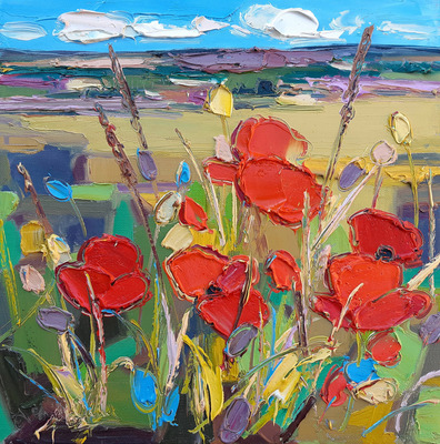 Poppies in Hedgerow, East Lothian