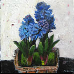 Basket of Blue Hyacinths