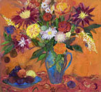 Blue Jug of Flowers on Orange