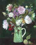 Roses in a Green Spotted Jug, on a Dark Ground