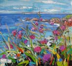 Distant Rathlin Island with Purple Flowers