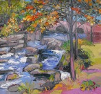 Autumn Trees by Waterfall, Betwys y Coed