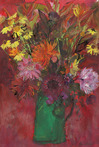 Dahlias and Helenium on Red with Green Vase