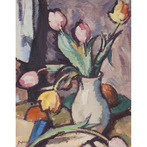 Still Life of Tulips in a Vase (Portrait of a Lady verso)