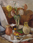 Still Life with Yellow Jugs, Fruit & Bowl