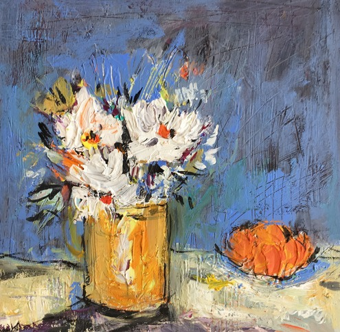 Vase of Daisies with Oranges
